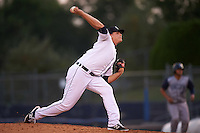 Connecticut Tigers pitcher Josh Heddinger (24) delivers a pitch during the first game of a doubleheader against the Brooklyn Cyclones on September 2, 2015 at Senator Thomas J. Dodd Memorial Stadium in Norwich, Connecticut.  Brooklyn defeated Connecticut 7-1.  (Mike Janes/Four Seam Images)