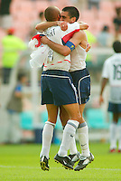 Ernie Stewart and Claudio Reyna celebrate  in Jeonju, South Korea, Monday June 17, 2002. Images provided in partnership with International Sports Images. (Please credit: John Todd/Int'l Sports Images/DSA)