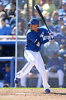 Toronto Blue Jays infielder Ryan Goins (17) during a spring training game against the Pittsburgh Pirates on February 28, 2014 at Florida Auto Exchange Stadium in Dunedin, Florida.  Toronto defeated Pittsburgh 4-2.  (Mike Janes/Four Seam Images)