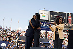 December 9, 2007. Columbia, SC.. Democratic presidential hopeful and US Senator, Barack Obama held a rally at the University of South Carolina's football stadium, drawing a crowd of an estimated 29,000 people, with special guest Oprah Winfrey.. Barack and Michelle Obama hug as Oprah looks on.. .