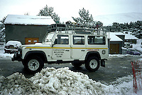 Mountain rescue team 4x4 Land Rover 110 fourwheel drive ambulance belonging to the Cairngorm Mountain Rescue Team in Scotland.   ..© SHOUT. THIS PICTURE MUST ONLY BE USED TO ILLUSTRATE THE EMERGENCY SERVICES IN A POSITIVE MANNER. CONTACT JOHN CALLAN. Exact date unknown.john@shoutpictures.com.www.shoutpictures.com..