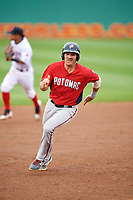 Potomac Nationals third baseman Jake Noll (13) runs the bases during the first game of a doubleheader against the Salem Red Sox on June 11, 2018 at Haley Toyota Field in Salem, Virginia.  Potomac defeated Salem 9-4.  (Mike Janes/Four Seam Images)