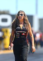 Jul 30, 2016; Sonoma, CA, USA; Ashley Fye , crew chief for NHRA top fuel driver Scott Palmer during qualifying for the Sonoma Nationals at Sonoma Raceway. Mandatory Credit: Mark J. Rebilas-USA TODAY Sports