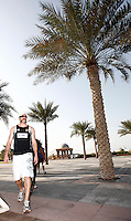 Photo: Richard Lane/Richard Lane Photography. London Wasps in Abu Dhabi for their LV= Cup game against Harlequins on 30th January 2011. 30/01/2011. Wasps' Marty Veale carrys out final preparations for the game during the walk though at the Emirates Palace Hotel.