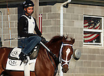 LOUISVILLE, KY - APRIL 16: Oscar Nominated (Kitten's Joy x Devine Actress, by Theatrical) returns to the barn with exercise rider Joel after working four furlongs in :49 3/5 at Churchill Downs' Trackside Training Center in Louisville, Kentucky. He is owned by Kenneth L. and Sarah K. Ramsey and trained by Michael J. Maker.  (Photo by Mary M. Meek/Eclipse Sportswire/Getty Images)