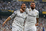 Real Madrid´s Cristiano Ronaldo (L) celebrates with Sergio Ramos after scoring a goal (1-0) at a penalty kick during the Champions League semi final soccer match between Real Madrid and Juventus at Santiago Bernabeu stadium in Madrid, Spain. May 13, 2015. (ALTERPHOTOS/Victor Blanco)