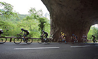 Team SKY leading the peloton  under 1 of the rock tunnels of the Gorges du Tarn <br /> <br /> stage 14: Rodez - Mende (178km)<br /> 2015 Tour de France