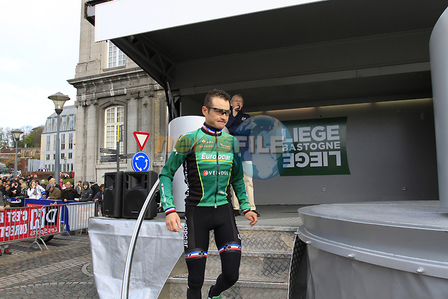 Thomas Voeckler (FRA) Team Europcar at sign on before the start of the 98th edition of Liege-Bastogne-Liege outside the Palais des Princes-Eveques, running 257.5km from Liege to Ans, Belgium. 22nd April 2012.  <br /> (Photo by Eoin Clarke/NEWSFILE).