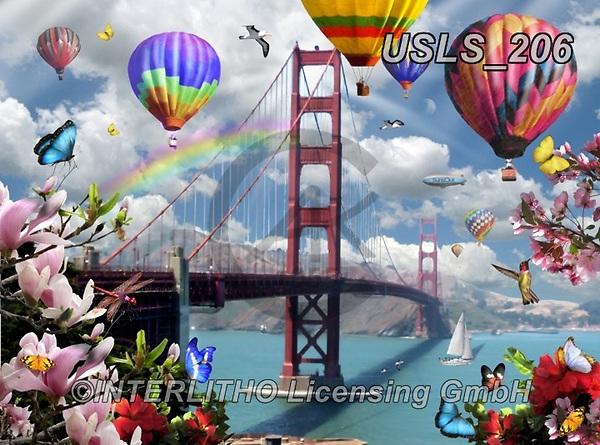 Lori, LANDSCAPES, LANDSCHAFTEN, PAISAJES, paintings+++++Golden Gate Bridge,USLS206,#l#, EVERYDAY ,puzzle,puzzles