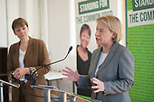 Caroline Lucas and Natalie Bennett.  Green Party general election manifesto launch, Dalston, London.