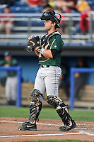 Jamestown Jammers catcher Taylor Gushue (13) during a game against the Batavia Muckdogs on July 25, 2014 at Dwyer Stadium in Batavia, New York.  Batavia defeated Jamestown 7-2.  (Mike Janes/Four Seam Images)