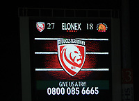 26th March 2021; Kingsholm Stadium, Gloucester, Gloucestershire, England; English Premiership Rugby, Gloucester versus Exeter Chiefs; Gloucester scoreboard showing them winning the game by a score of 34-18