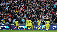 Brentford celebrate their last minute winner scored by Yoane Wissa in front of their own fans during West Ham United vs Brentford, Premier League Football at The London Stadium on 3rd October 2021