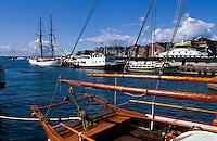 Norwegen, Oslo, Boote im Hafen vor dem Rathausplatz