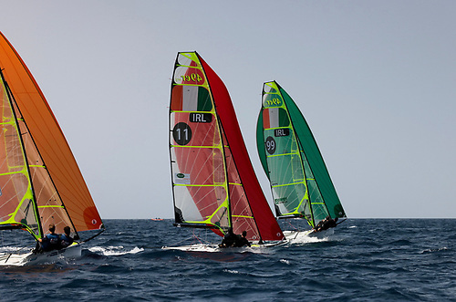 Irish rivals for the Olympic slot in Tokyo - Ryan Seaton and Seafra Guilfoyle (11) chase Robert Dickson and Sean Waddilove (99) on a downwind leg in Lanzarote today. Photo: Sailing Energy