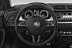 Car pictures of steering wheel view of a 2015 Skoda Fabia Ambition 5 Door Hatchback Steering Wheel