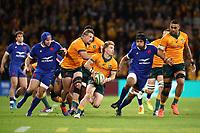 17th July 2021; Brisbane, Australia;  Australia's Tate McDermott in action  during the Australia versus France, 3rd Rugby Test at Suncorp Stadium, Brisbane, Australia on Saturday 17th July 2021.