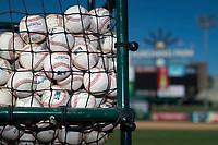 A bin of baseballs used during batting practice by the Fresno Grizzlies before a Pacific Coast League game against the Salt Lake Bees at Chukchansi Park on May 14, 2018 in Fresno, California. Fresno defeated Salt Lake 4-3. (Zachary Lucy/Four Seam Images)