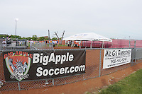 Big Apple Soccer signage. FC Gold Pride defeated Sky Blue FC 1-0 during a Women's Professional Soccer (WPS) match at Yurcak Field in Piscataway, NJ, on May 1, 2010.