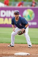Syracuse Chiefs first baseman Jacob Wilson (19) during a game against the Lehigh Valley IronPigs on May 20, 2018 at NBT Bank Stadium in Syracuse, New York.  Lehigh Valley defeated Syracuse 5-2.  (Mike Janes/Four Seam Images)