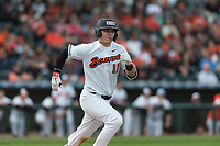 Oregon State Beavers designated hitter Troy Claunch (17) hustles down the first base line during a game against the New Mexico Lobos on February 15, 2019 at Surprise Stadium in Surprise, Arizona. Oregon State defeated New Mexico 6-5. (Zachary Lucy/Four Seam Images)