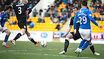 St Johnstone v Hibs...22.03.14    SPFL<br /> Michael O'Halloran plays th abll back to Steven MacLean on;ly for Mark McGivern to intercept it and score an own goal<br /> Picture by Graeme Hart.<br /> Copyright Perthshire Picture Agency<br /> Tel: 01738 623350  Mobile: 07990 594431