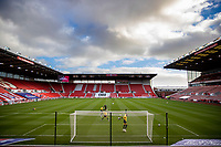 31st October 2020; Bet365 Stadium, Stoke, Staffordshire, England; English Football League Championship Football, Stoke City versus Rotherham United; The Stoke goalkeepers come out early for the warm up
