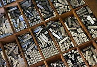 Lead typeface used in traditional printing press, Genesee Country Village and Museum, Mumford, New York, USA.