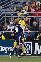 8 MAY 2010:  New England Revolutions' Pat Phelan (28) and Adam Moffat of the Columbus Crew (22) during MLS soccer game between New England Revolution vs Columbus Crew at Crew Stadium in Columbus, Ohio on May 8, 2010. The Columbus defeated New England 3-2.