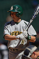 Baylor Bears second baseman Lawton Langford #8 at bat during the NCAA baseball game against the California Golden Bears on March 1st, 2013 at Minute Maid Park in Houston, Texas. Baylor defeated Cal 9-0. (Andrew Woolley/Four Seam Images).