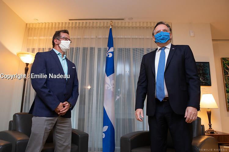 Le premier ministre du Quebec, M. François Legault,<br /> rencontre  le chef du Bloc Quebecois, M. Yves-François Blanchet, <br /> le 2 juillet 2020,<br /> au Cabinet du premier ministre<br /> 770, rue Sherbrooke Ouest<br /> Montréal (Québec) <br /> <br /> <br /> PHOTO :  Emilie Nadeau