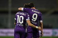 Gaetano Castrovilli and Dusan Vlahovic of ACF Fiorentina celebrate during the Serie A football match between ACF Fiorentina and Spezia Calcio at Artemio Franchi stadium in Firenze (Italy), February 19, 2021. Photo Image Sport / Insidefoto