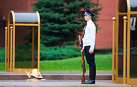 Guard in the Eternal fire at the Tomb of Unknown Soldier in front of the Kremlin wall, Moscow, Russia