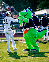 29 May 2021: Vermont Lake Monsters Mascot Champ greets outfielder Spencer Williams, from Northridge, CA, prior to a game against the Norwich Sea Unicorns at Centennial Field in Burlington, Vermont. The Lake Monsters defeated the Sea Unicorns 6-3 in their FCBL Home Opener, the first home game played at Centennial Field post-Covid-19 pandemic. Mandatory Credit: Ed Wolfstein Photo *** RAW (NEF) Image File Available ***