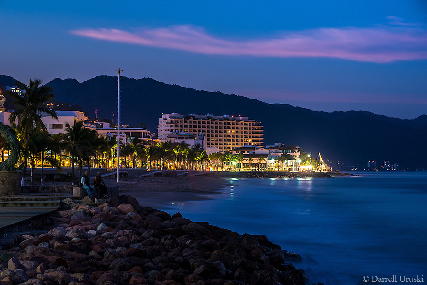 Fine Art Landscape Photograph, Twilight on the Malecon in Puerto Vallarta, Mexico. <br /> The morning sun was just beginning to light the blue sky and the distant mountains. The morning lighting was just perfect.