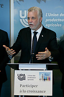 March 18, 2014 - Philippe Couillard, Liberal leader adress the UPA during the electoral campaign.<br /> <br /> <br /> Philippe Couillard devant l'UPA et ses 38 groupes affiliés<br /> <br /> Photo : Pierre Roussel
