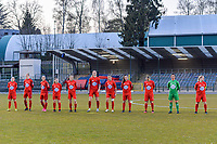 line-up team Woluwe ( Estelle Peron (45) , Hanne Mylle (29) , Clotilde Codden (23) , Taika De Koker (16) , Selina Gijsbrechts (11) , Marie Bougard (10) , Kenza Vrithof (9) , Anouck Cochez (4) , Stefanie Deville (3) , goalkeeper Willeke Willems (1) , Jana Simons (8) ) pictured before a female soccer game between FC Femina White Star Woluwe and Sporting Charleroi on the 2nd matchday of Play off 2 in  the 2020 - 2021 season of Belgian Scooore Womens Super League , friday 16 th of April 2021  in Woluwe , Belgium . PHOTO SPORTPIX.BE   SPP   STIJN AUDOOREN