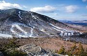 Mittersill Mountain from the summit of Bald Mountain in White Mountains, New Hampshire USA during the winter months.