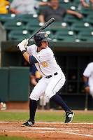 Montgomery Biscuits outfielder Joey Rickard (10) at bat during a game against the Tennessee Smokies on May 25, 2015 at Riverwalk Stadium in Montgomery, Alabama.  Tennessee defeated Montgomery 6-3 as the game was called after eight innings due to rain.  (Mike Janes/Four Seam Images)