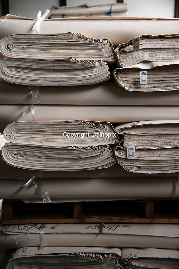 MAY 15, 2014 - KURASHIKI, JAPAN: Takeyari garment factory .  (Photograph / Ko Sasaki)