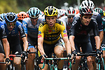 The peloton led by Tony Martin (GER) Team Jumbo-Visma and Luke Rowe (WAL) Team Ineos Grenadiers during a treacherous Stage 1 of Tour de France 2020, running 156km from Nice Moyen Pays to Nice, France. 29th August 2020.<br /> Picture: ASO/Alex Broadway | Cyclefile<br /> All photos usage must carry mandatory copyright credit (© Cyclefile | ASO/Alex Broadway)
