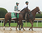 """Lexington KY - October 8 Romantic Vision wins the 62nd running of the Juddmonte Spinster (Grade 1) for owner G. Watts Humphrey Jr., trainer George """"Rusty"""" Arnold and jockey Brian Hernandez.  October 8, 2017"""