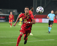 Killian Sardella (18) of Belgium sprints after the ball during a soccer game between the national teams Under21 Youth teams of Belgium and Kazakhstan on the third matday in group I for the qualification for the Under 21 EURO 2023 , on friday 8 th of october 2021  in Leuven , Belgium . PHOTO SPORTPIX | SEVIL OKTEM