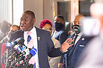 """Benjamin Crump, attorney for the family of Duante Wright, left, speaks at a press conference along with Reverend Al Sharpton, right, and members of the """"Mother's of the Movement"""" during the National Action Network (NAN) Virtual Convention 2021 in New York on Wednesday, April 14, 2021. Photograph by Michael Nagle"""