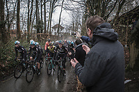 Team Sky leading the peloton up the Trieu. <br /> <br /> 73th Dwars Door Vlaanderen (1.UWT)<br /> 1day race: Roeselare › Waregem BEL (180km)