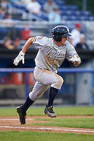 Staten Island Yankees second baseman Nick Solak (59) runs to first during a game against the Batavia Muckdogs on August 27, 2016 at Dwyer Stadium in Batavia, New York.  Staten Island defeated Batavia 13-10 in eleven innings.  (Mike Janes/Four Seam Images)