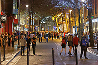 Pictured: Revellers in Wind Street, Swansea, south Wales, UK. Friday 21 December 2018<br /> Re: Black Eye Friday, also known as Mad Friday or Black Friday which is the last Friday before Christmas Day.