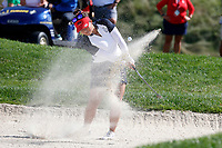 5th September 2021: Toledo, Ohio, USA;  Megan Khang of Team USA hits out of the sand on the 13th hole during the afternoon Four-ball competition during the Solheim Cup on September 5, 2021 at Inverness Club in Toledo, Ohio. Europe retained the Solheim Cup with a hard-fought 15-13 victory over the United States