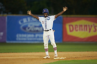 Kier Meredith (3) (Clemson) of the High Point-Thomasville HiToms reacts after hitting a double during the game against the Wilson Tobs at Finch Field on July 17, 2020 in Thomasville, NC. The Tobs defeated the HiToms 2-1. (Brian Westerholt/Four Seam Images)