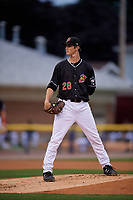 Batavia Muckdogs pitcher Easton Lucas (28) during a NY-Penn League Semifinal Playoff game against the Lowell Spinners on September 4, 2019 at Dwyer Stadium in Batavia, New York.  Batavia defeated Lowell 4-1.  (Mike Janes/Four Seam Images)